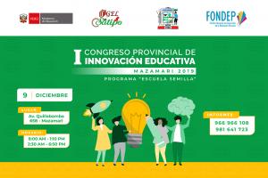 Satipo: I Congreso Provincial de Innovación Educativa se realizará este 9 de diciembre en Mazamari